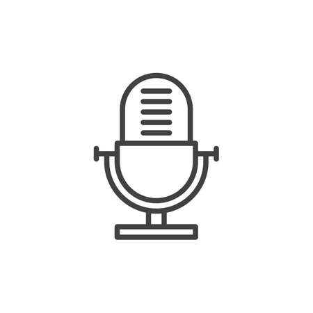 Voice recorder, old microphone line icon, outline vector sign, linear style pictogram isolated on white. Symbol, logo illustration. Editable stroke. Pixel perfect