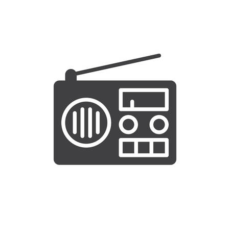 fm: Radio icon vector, filled flat sign, solid pictogram isolated on white. Symbol, logo illustration. Pixel perfect