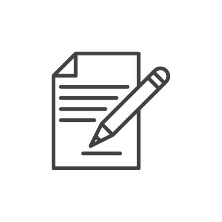signing papers: Contract signing, document and pencil line icon, outline vector sign, linear style pictogram isolated on white. Form symbol, logo illustration. Editable stroke. Pixel perfect Illustration