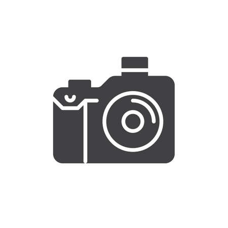 aligned: Photo camera icon vector, filled flat sign, solid pictogram isolated on white. Symbol, logo illustration. Pixel perfect