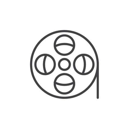 aligned: Film reel line icon, outline vector sign, linear style pictogram isolated on white. Symbol, logo illustration. Editable stroke. Pixel perfect