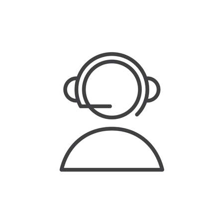 aligned: Online support, Call center line icon, outline vector sign, linear style pictogram isolated on white. Symbol, logo illustration. Editable stroke. Pixel perfect