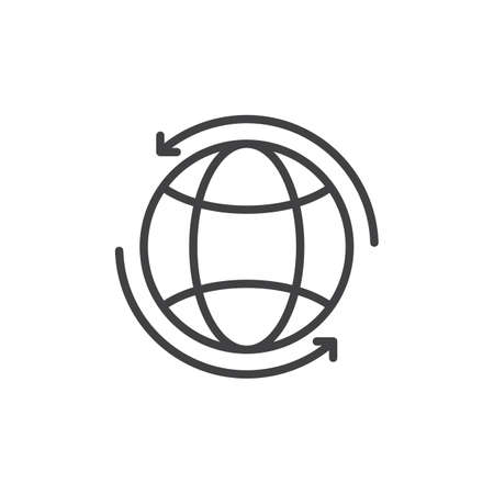 aligned: Globe with arrows around line icon, outline vector sign, linear style pictogram isolated on white. Worldwide symbol, logo illustration. Editable stroke. Pixel perfect