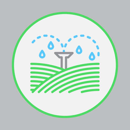 潅漑のスプリンクラーは、アウトライン アイコン、カラフルなベクトル記号、円形フラット ピクトグラム ラウンドを満ちています。シンボル、ロ  イラスト・ベクター素材