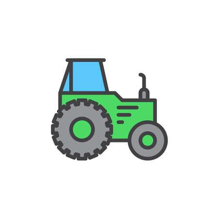 트랙터 가득 개요 아이콘, 라인 벡터 기호, 선형 다채로운 픽토그램. 기호, 로고 그림