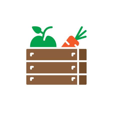 Fruits et légumes icône vector, rempli de signe plat, solide pictogramme coloré. Symbole de récolte, illustration du logo Banque d'images - 80346994