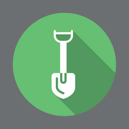 Shovel flat icon. Round colorful button, circular vector sign with long shadow effect. Flat style design