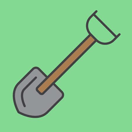 Shovel filled outline icon, line vector sign, linear colorful pictogram. Symbol, logo illustration