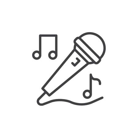 Karaoke microphone line icon, outline vector sign, linear style pictogram isolated on white. Singing symbol, logo illustration. Editable stroke. Pixel perfect