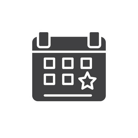 aligned: Calendar event reminder icon vector, filled flat sign, solid pictogram isolated on white. Pixel perfect
