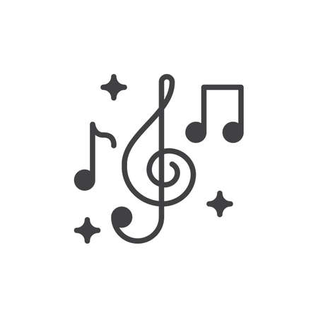 aligned: Treble clef and music notes icon vector, filled flat sign, solid pictogram isolated on white. Music symbol illustration. Pixel perfect