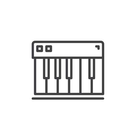 logo music: Piano keys line icon, outline vector sign, linear style pictogram isolated on white. Synthesizer symbol, logo illustration. Editable stroke. Pixel perfect Illustration