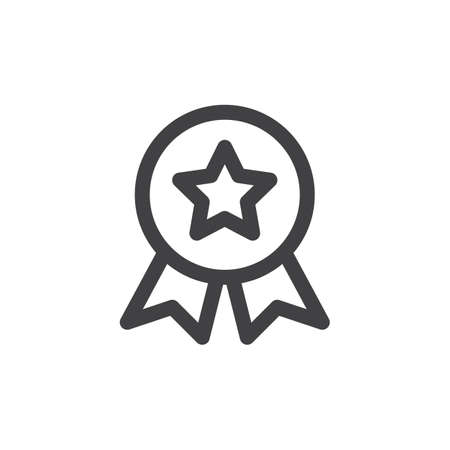 quality guarantee: Quality medal line icon, outline vector sign, linear style pictogram isolated on white. Symbol, logo illustration. Thick line design. Pixel perfect graphics