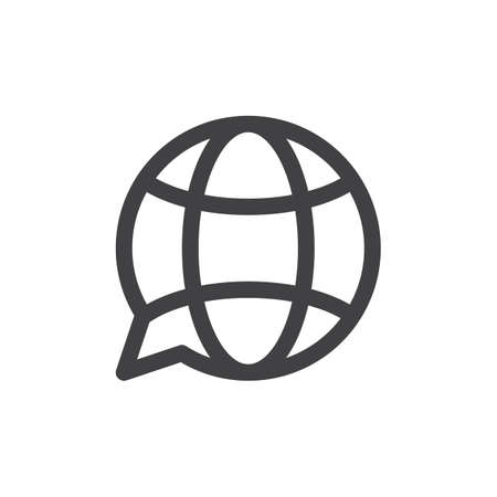 Translation globe line icon, outline vector sign, linear style pictogram isolated on white. Symbol, logo illustration. Thick line design. Pixel perfect graphics Illustration
