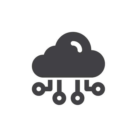aligned: Cloud computing icon vector, filled flat sign, solid pictogram isolated on white. Symbol, logo illustration. Pixel perfect