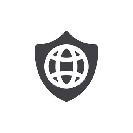 aligned: Shield and globe icon vector, filled flat sign, solid pictogram isolated on white. Internet protection symbol, logo illustration. Pixel perfect Illustration