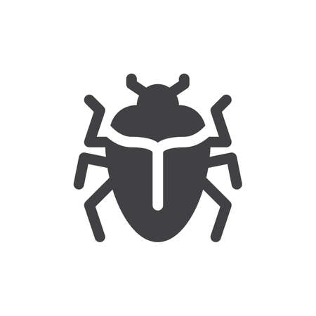 aligned: Bug icon vector, filled flat sign, solid pictogram isolated on white. Symbol, logo illustration. Pixel perfect