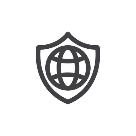 aligned: Shield and globe line icon, outline vector sign, linear style pictogram isolated on white. Internet protection symbol, logo illustration. Thick line design. Pixel perfect graphics Illustration