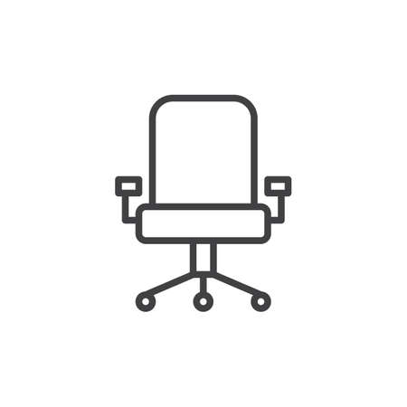 aligned: Executive seat line icon, outline vector sign, linear style pictogram isolated on white. Office chair symbol, logo illustration. Editable stroke. Pixel perfect graphics