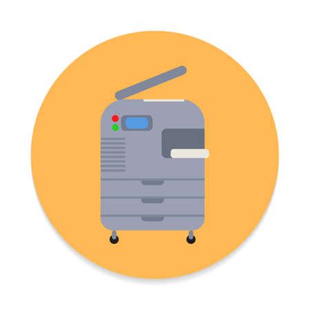複写機、複写機フラット アイコン。円形のベクトル記号の丸いカラフルなボタンフラット スタイルのデザイン  イラスト・ベクター素材