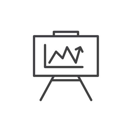 aligned: Whiteboard with growing chart line icon, outline vector sign, linear style pictogram isolated on white. Symbol, logo illustration. Editable stroke. Pixel perfect graphics