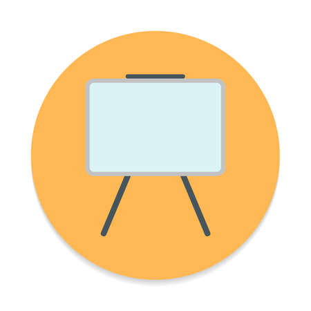 erased: Whiteboard flat icon. Round colorful button, Dry erase board circular vector sign. Flat style design