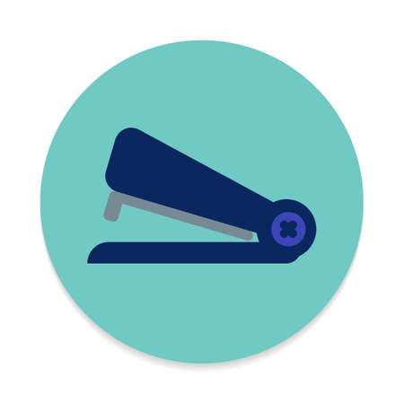 engrapadora: Stapler flat icon. Round colorful button, Stationery circular vector sign. Flat style design Vectores