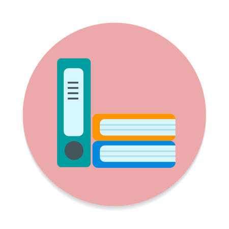 Ring binder folders flat icon. Round colorful button, Office documents circular vector sign. Flat style design Illustration