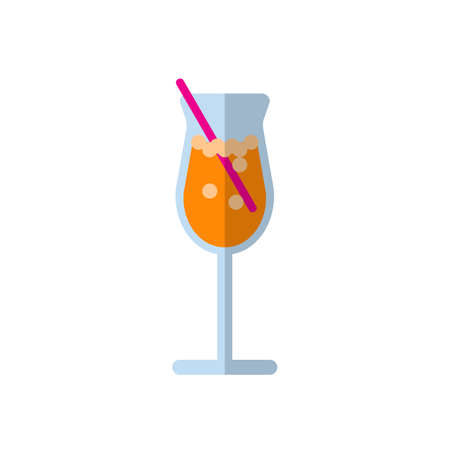Cocktail flat icon, filled vector sign, colorful pictogram isolated on white. Drink symbol, logo illustration. Flat style design