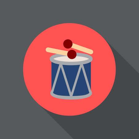 ドラム ・ スティック フラット アイコン。丸いカラフルなボタン、円形ベクトル記号、ロゴの図。フラット スタイルのデザイン