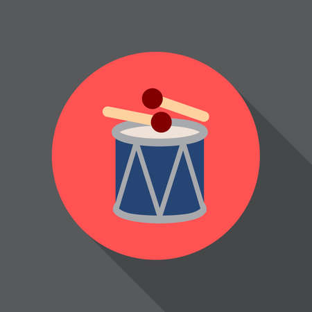 Drum and sticks flat icon. Round colorful button, circular vector sign, logo illustration. Flat style design