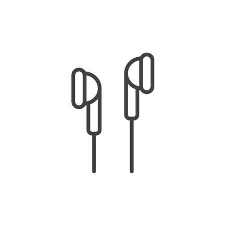 인 - 이어 헤드폰 라인 아이콘, 개요 벡터 기호, 선형 스타일 픽토그램 화이트 절연. 기호, 로고 그림입니다. 편집 가능한 획