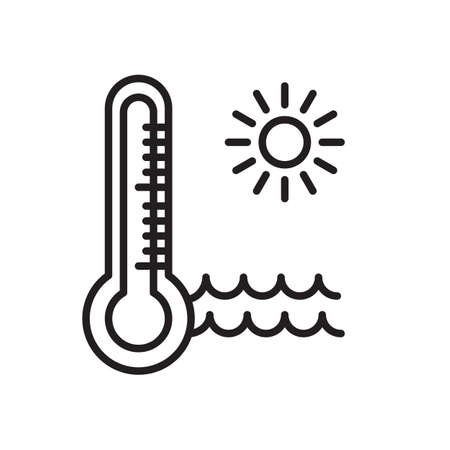 Thermometer water line icon, outline vector sign, linear style pictogram isolated on white. Hot weather symbol, logo illustration. Editable stroke. Pixel perfect graphics Illustration