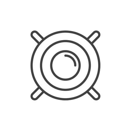 subwoofer: Sound woofer line icon, outline vector sign, linear style pictogram isolated on white. Symbol, logo illustration. Editable stroke Illustration