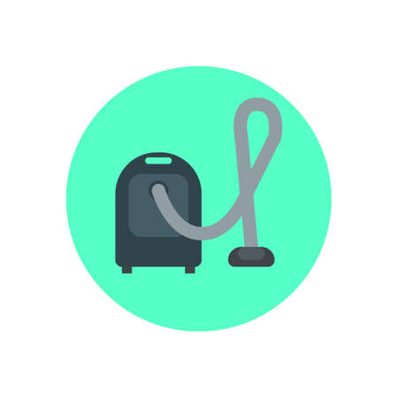 Vacuum cleaner flat icon. Round colorful button, Household circular vector sign, logo illustration. Flat style design Illustration