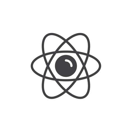 Atom icon vector, filled flat sign, solid pictogram isolated on white. Nuclear symbol, logo illustration. Pixel perfect graphics