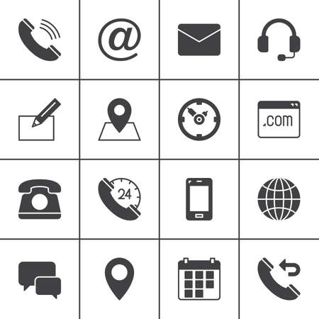 Contact vector icons set, modern solid symbol collection, filled style pictogram pack. Signs, logo illustration. Set includes icons as map, globe, phone, call, clock, handset, message, email, call back