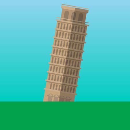 leaning tower of pisa: Leaning Tower of Pisa, Italy vector illustration. Flat style icon. Most famous world landmark. Travel flat design vector graphics