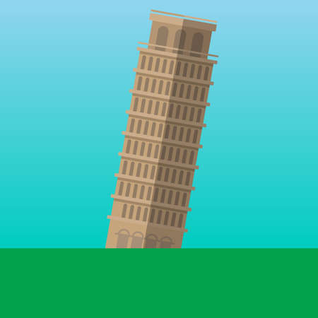 Leaning Tower of Pisa, Italy vector illustration. Flat style icon. Most famous world landmark. Travel flat design vector graphics