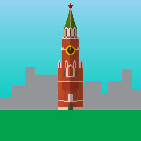 Spasskaya Tower of Kremlin in Moscow, Russia vector illustration. Flat style icon. Most famous world landmark. Travel flat design vector graphics