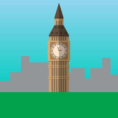 Big Ben in London, England vector illustration. Flat style icon. Most famous world landmark. Travel flat design vector graphics