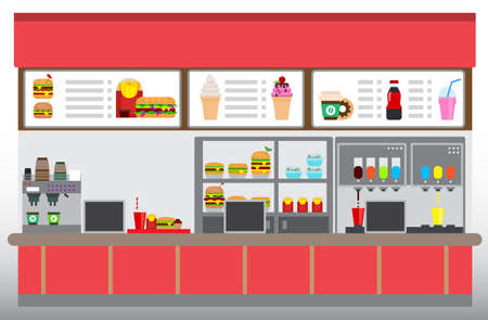 Fast food restaurant interior with hamburgers, french fries, and beverages. Food court concept, Flat design vector illustration
