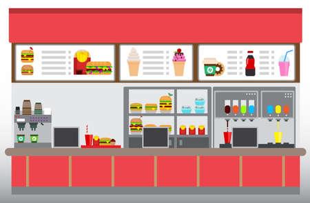 Intérieur de restaurant de restauration rapide avec hamburgers, frites et boissons. Concept aire de restauration, illustration vectorielle design plat