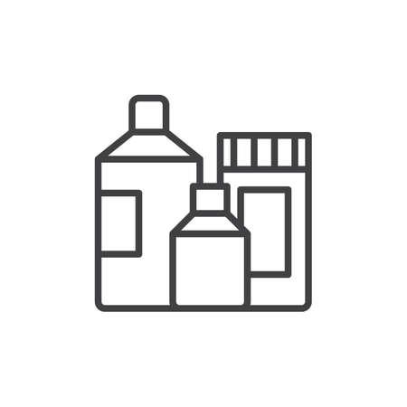 洗剤容器ライン アイコン、ベクトル記号, 白で隔離線形スタイル ピクトグラムの概要します。シンボル、ロゴの図。編集可能なストローク。ピクセ  イラスト・ベクター素材