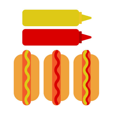 bun: Hot dog, ketchup and mustard flat icon, vector sign, colorful pictogram isolated on white. Symbol, logo illustration. Flat style design