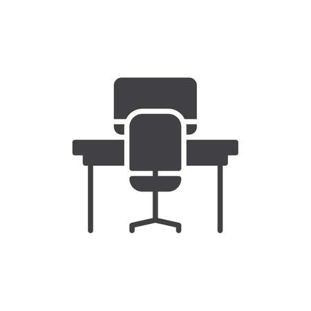 furniture design: Office table icon vector, filled flat sign, solid pictogram isolated on white. Workplace symbol, logo illustration. Pixel perfect graphics Illustration