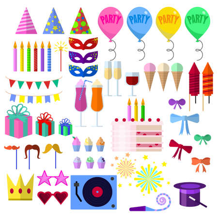 Celebration party elements collection, Carnival festive flat icons set, Colorful symbols pack contains - hat, mask, balloon, fireworks, gift, birthday cake. Vector illustration. Flat style design illustration.