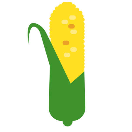 sweetcorn: Corn flat icon, vector sign, ripe corn colorful pictogram isolated on white. Cereal Symbol, logo illustration. Flat style design