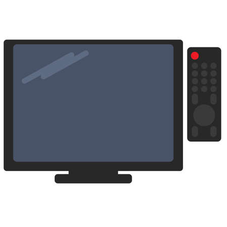 lcd tv: Television and tv remote vector illustration. Flat style design. Colorful graphics