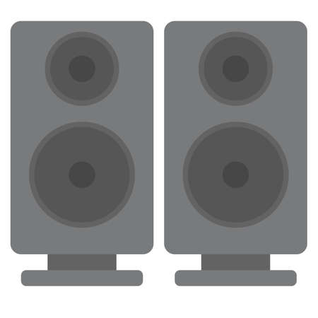 electronic music: Black acoustic sound speakers vector illustration. Flat style design. Colorful graphics Illustration